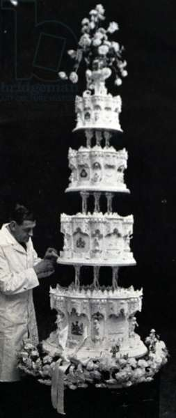 The Royal Wedding Cake of Queen Elizabeth II and Prince Philip, November 1947 (b/w photo)
