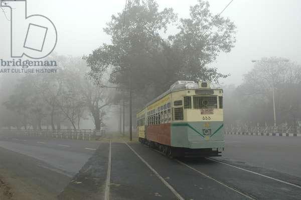 The morning tram at Kolkata, India. January 29, 2007.  (photo)