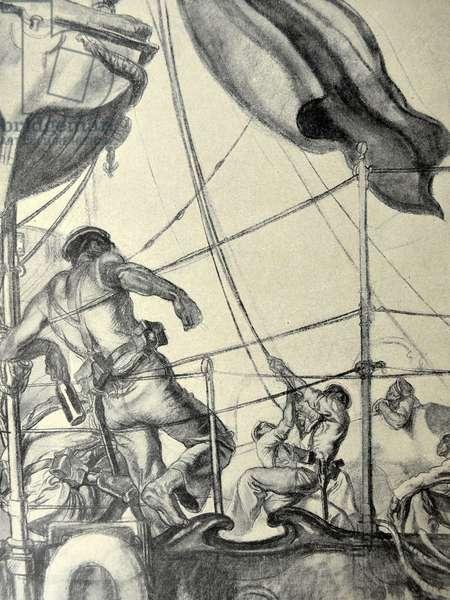 Spanish Civil War: sailors aboard a republican ship, 1936