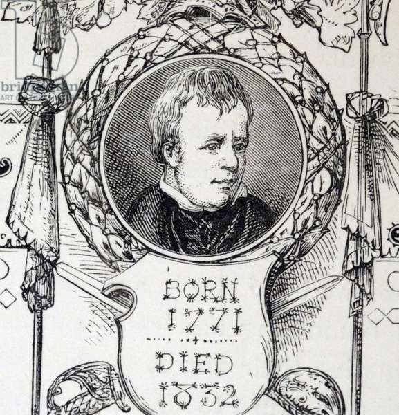 Engraved portrait of Walter Scott