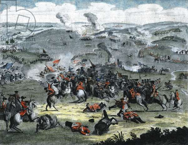 Battle of Blenheim (Hochstadt) 13 August 1704 (new style). Marlborough and Prince Eugene of Savoy victorius. War of the Spanish succession. Hand-coloured engraving.