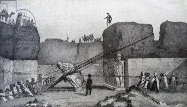 Engraving depicting Sir Austen Henry Layard's excavators lowering one of the Great Winged Bulls found in Nineveh