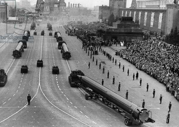 Sandal (Ss-4) Missiles at a 1962 May Day Parade in Red Square, Moscow, USSR, the Ss-4 is a Single-Stage, Liquid-Fuel Irbm with a Choice of Nuclear or Conventional Warheads and a Range of 1, 100 Miles, First Seen in 1961.
