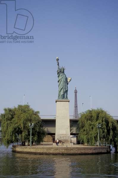 France, Paris, Statue De La Liberte & The Eiffel Tower