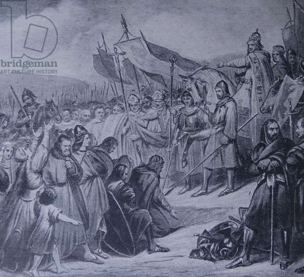 Engraving depicting King Charlemagne receiving the submission of Widukind