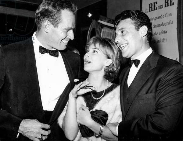 Charlton Heston, Gabriella Pallotta, Harry Guardino, 60S (b/w photo)