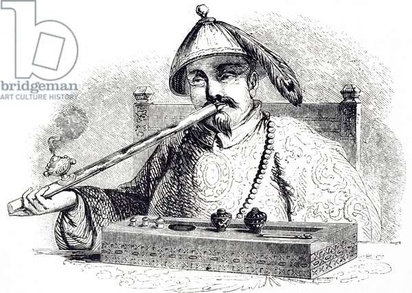 Illustration depicting a Chinese man smoking opium 1852. Imports of opium into China stood at 200 chests annually in 1729, when the first anti-opium edict was promulgated. By the time Chinese authorities reissued the prohibition in starker terms in 1799, the figure had leaped; 4,500 chests were imported in the year 1800. The decade of the 1830s witnessed a rapid rise in the opium trade, and by 1838, just before the First Opium War, it had climbed to 40,000 chests. The rise continued on after the Treaty of Nanking (1842) that concluded the war