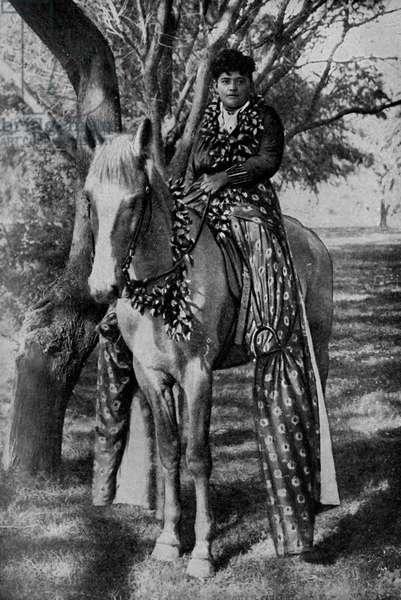 Hawaii. Hawaiian lady goes riding in divided skirts. 1920