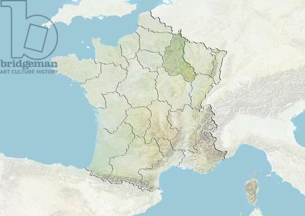 France and the Region of Champagne-Ardenne, Relief Map