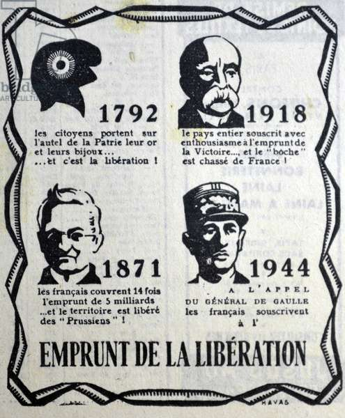 Poster depicting heroes of the French struggle against aggressors: Left top: the cap of liberty 1792; top right Georges Clemenceau; Bottom left: Adolphe Thiers Paris commune; and Bottom right General de Gaulle world war Two.