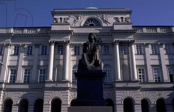 Mikolaj Kopernik (Copernicus) Monument In Front Of Polish Academy Of Sciences, Krakowskie Przedmiescie Street, Warsaw, Poland.