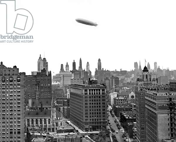 Graf Zeppelin Over Chicago (b/w photo)