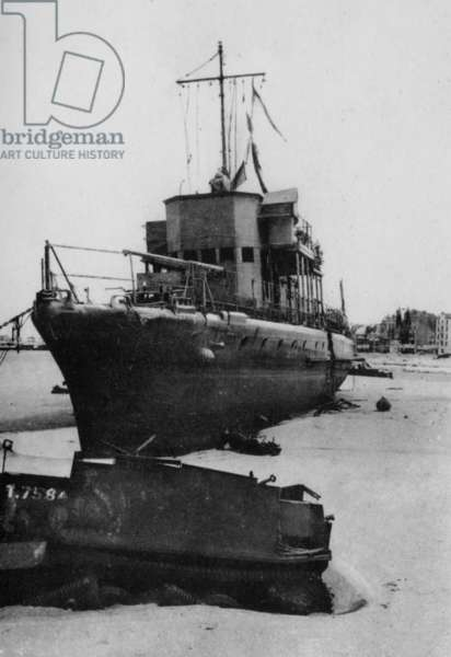 Beached Fisher Boat at Dunkirk, 1940 (b/w photo)
