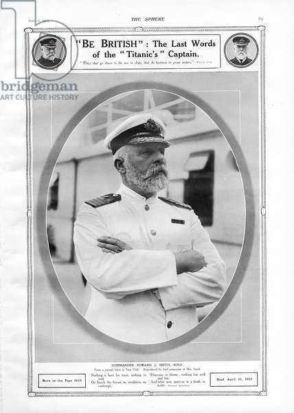 Captain of White Star Liner, RMS Titanic.  Portrait of and tribute to Commander Edward J. Smith, who died when Titanic sank on April 15th, 1912 after striking an iceberg off the coast of New Foundland during her maiden voyage from Southampton, England to New York, USA, with the loss of 1,522 passengers and crew.  The steamship was built by Harland & Wolff in Belfast Ireland during 1910 - 1911. (Photo by Titanic Images/Universal Images Group) Photographie ©UIG/Leemage