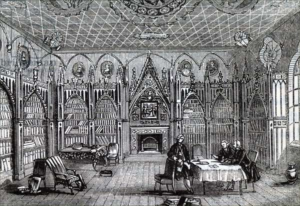 The interior of Horace Walpole's library