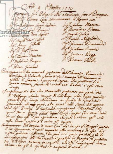 Admission examination for Mozart for the Music academy at Bologna