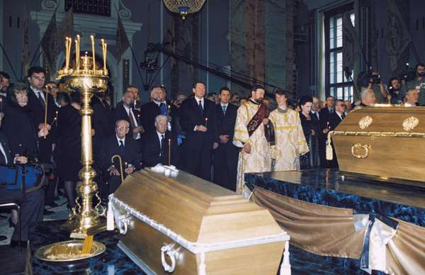 The Burial Ceremony for the Remains of Tsar Nicholas Ll and his Family at St. Peter and Paul Cathedral in St. Petersburg, Russia, 1998.