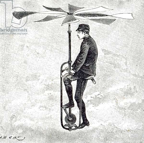 Illustration depicting an aerial Velocipede. 1893. A velocipede was a human-powered vehicle with one or more wheels