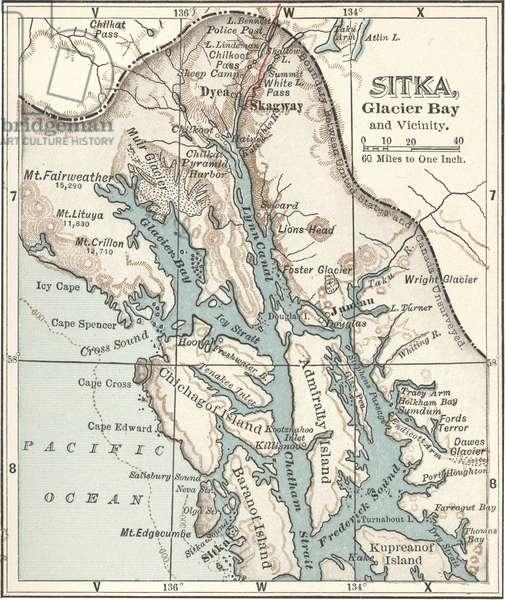 Map of Sitka and Glacier Bay, Alaska