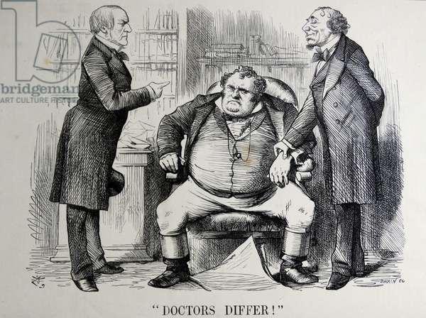 Political satire depicting William Ewart Gladstone, Benjamin Disraeli and John Bull