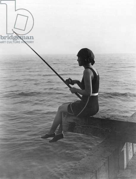 Vilma Banky Fishing, United States, c.1926 (b/w photo)