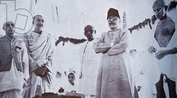 Mohandas Karamchand Gandhi with Jawaharlal Nehru