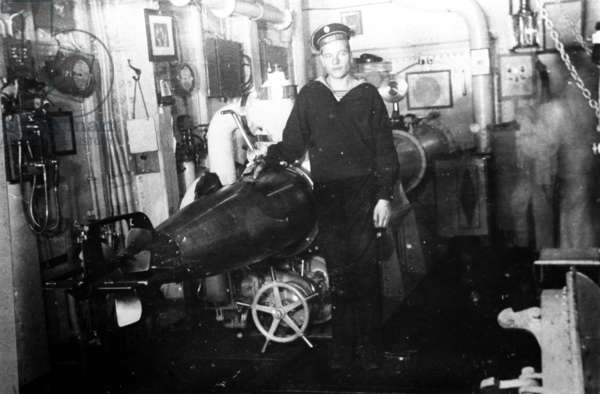World War One, Torpedo Aboard the 'Petropavlovsk' Battleship, Russia, 1914.
