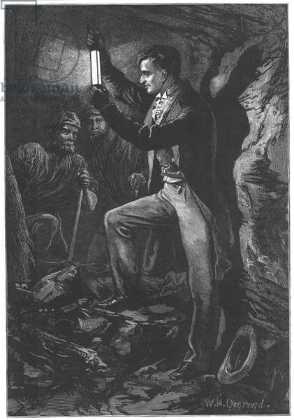 Humphry Davy (1778-1829) English chemist. Artist's impression of Davy testing his miner's safety lamp. From Edwin Hodder Heroes of Britain, London c1880. Wood engraving.