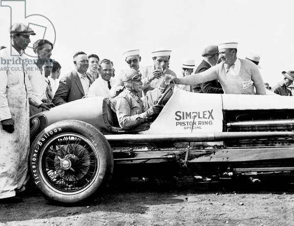 Race Car Driver Ray Keech, Indianapolis, Indiana, 1929 (b/w photo)