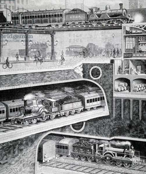 Sectional view of London's transport system at Queen Victoria Street