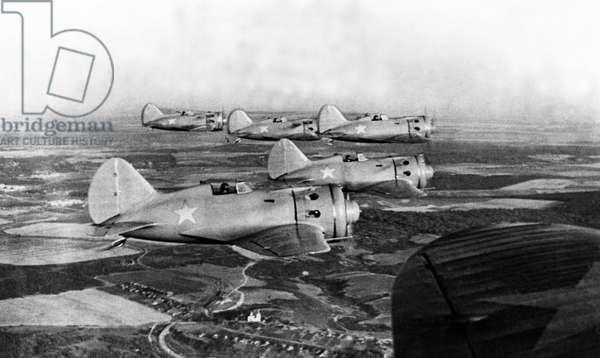 Soviet I-16 Planes in Flight, Pre-World War 2.