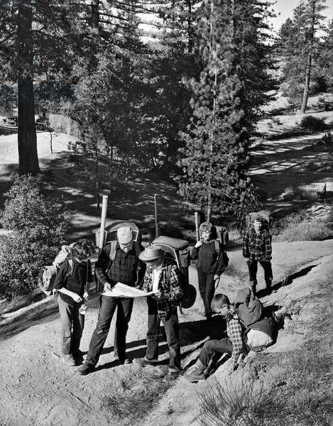 Family Backpacking Trip, Montana, c.1958 (b/w photo)