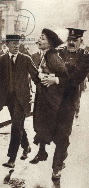 Mrs Emmeline Pankhurst (1857-1928), English suffragette, being arrested outside Buckingham Palace, London 1914
