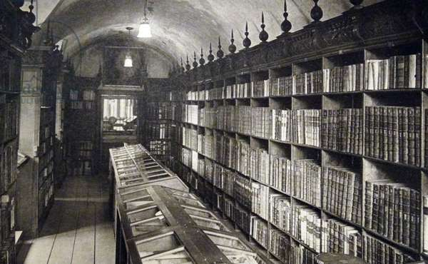17th century library at Winchester Cathedral, in England