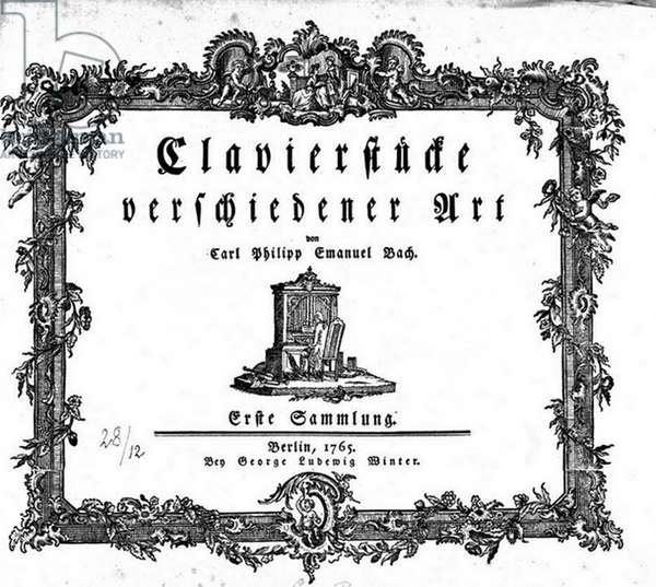 Title page of 'Clavierstucke verschiedener Art', 1765, by Carl Philipp Emanuel Bach (1714-1788) German musician and composer, second son of Johann Sebastian Bach. Klaviersteucke Keyboard Music