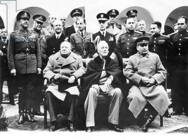 Big Three: Churchill, Roosevelt and Stalin at Livadia Palace During the Yalta Conference, Crimea, February 1945.