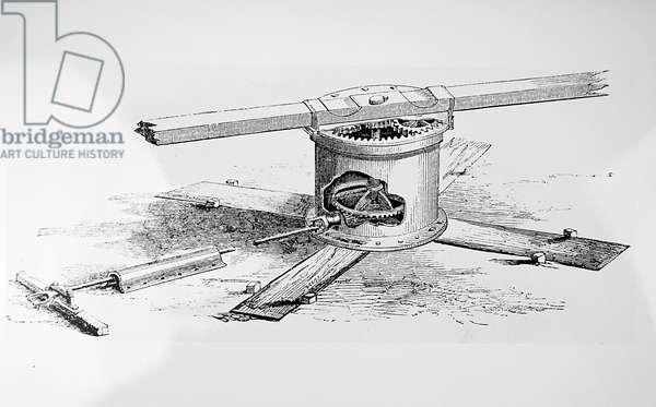 Garret & Son's portable steam engine driving a threshing machine