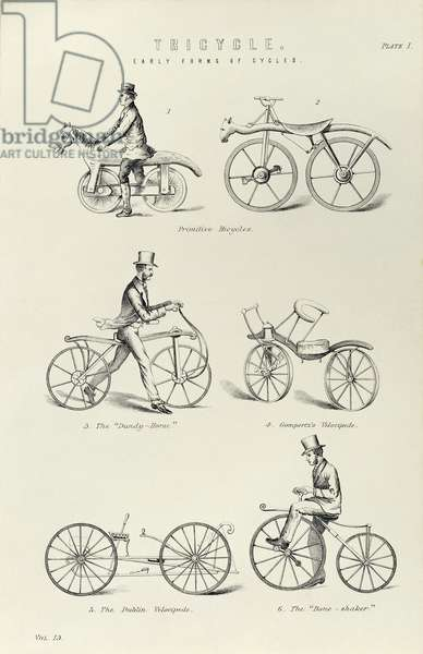 Various forms of early bicycle including the Drasien, Gompertz's Velocipede, a Dandy Horse and a and Boneshaker. From The National Encyclopaedia, London, 1880.