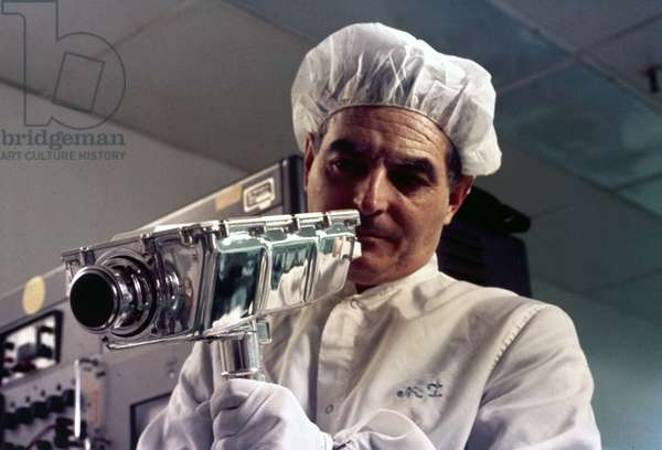 Manned Space Flight, USA, Apollo, General Technician assembling Apollo 9 television camera, 1969