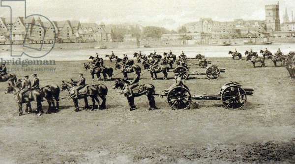 British artillery parade on the banks of the occupied Rhine