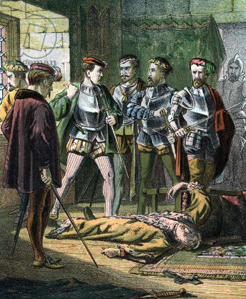 """Henry of Lorraine, 3rd Duke de Guise (1550-1588) French soldier and statesman. One of the instigators of the Massacre of St Bartholemew 23 August 1572. Mid 19th century (chromolithograph from """"History of the Acts and Monuments of the Church"""" by John Foxe (1563) popularly called Foxe's Book of Martyrs)"""