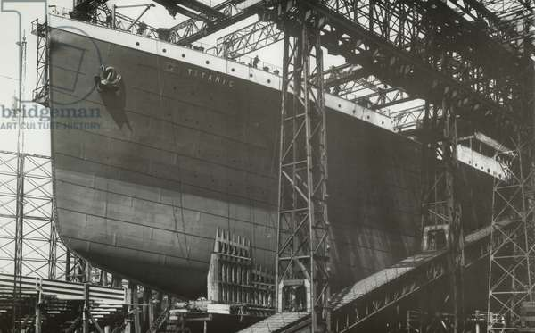 RMS Titanic nearing launch, 05 January 1911 (b/w photo)