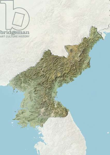 Relief map of North Korea (with border and mask). This image was compiled from data acquired by landsat 5 & 7 satellites combined with elevation data ©Planet Observer/UIG/Leemage