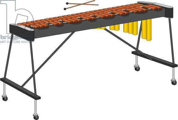 Xylophone and mallets.