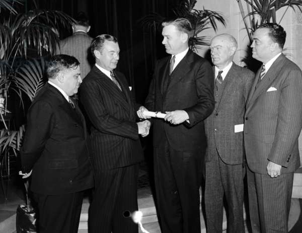 Group, includes Robert Jackson, 2nd from left; and J. Edgar Hoover, right 19400101. J. Edgar. Hoover 1895-1972. Director of the FBI