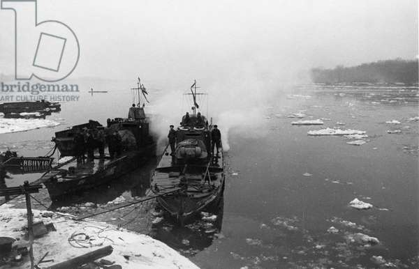 World War 2, Soviet Armored Cutters 'Stalinets' and 'Hero of the Soviet Union Golubets' of the Soviet Danube Military Flotilla Moored at the Hungarian Bank of the Danube River, February 1945.