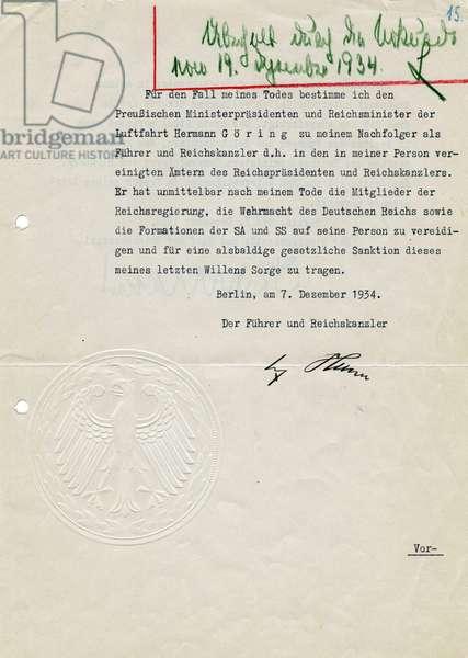 Testament of Adolf Hitler