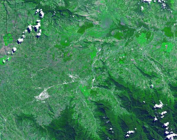 The Kuk Early Agricultural Site consists of 116 ha of swamps in the western highlands of New Guinea. May 7, 2002. Satellite image.