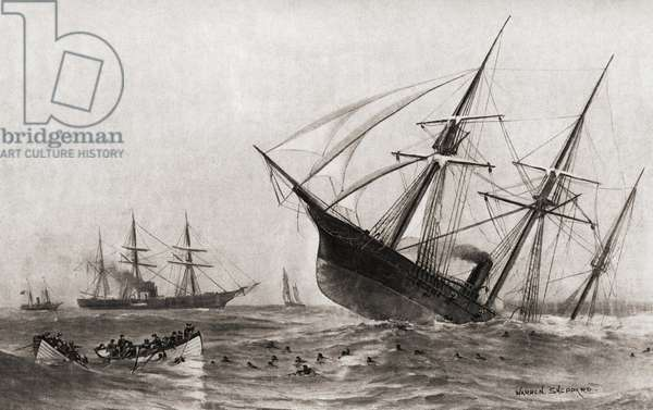 The Sinking of CSS Alabama during The Battle of Cherbourg, or the Battle off Cherbourg. Single-ship action fought during the American Civil War between a United States Navy warship, the USS Kearsarge, and a Confederate States Navy warship, the CSS Alabama, on June 19, 1864, off Cherbourg, France. From The History of our Country, published1900 ©UIG/Leemage