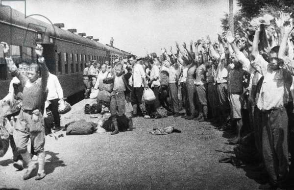 Operation August Storm (Battle of Manchuria), Japanese Prisoners of War at Tungliao Railroad Station, Manchuria, August 1945, Japanese Surrender to Red Army, World War 2.